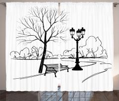 Parkta Sonbahar Fon Perde Siyah Beyaz Sonbahar