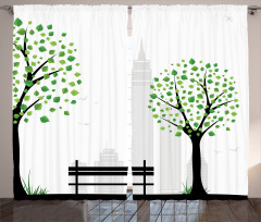 Şehir Manzarası Fon Perde Ağaç Siyah Beyaz