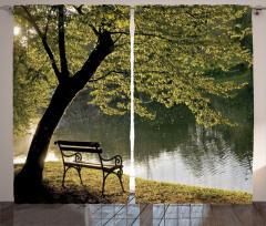 Romantik Göl Manzarası Fon Perde Doğa Yeşil Bahar