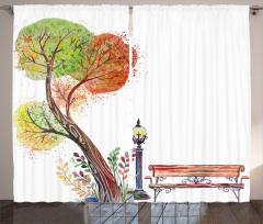 Sulu Boya Ağaç Fon Perde Sonbahar Beyaz