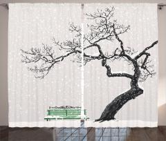 Kış Mevsimi Fon Perde Romantik Beyaz