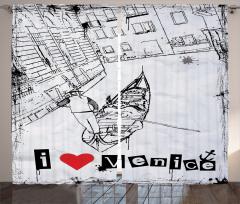 Venedik Temalı Fon Perde Siyah Kanal Gondol Aşk