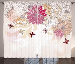 Çiçek Desenli Fon Perde Pembe Beyaz Şık Tasarım