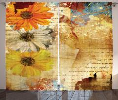 Çiçek Desenli Fon Perde Kahverengi Nostaljik Şık
