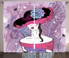 Şapkalı Kız Desenli Fon Perde Çiçek Mor Mavi Trend