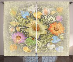 Çiçek Desenli Fon Perde Nostaljik Bej Çeyizlik