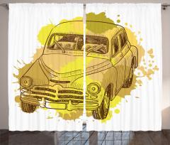 Retro Araba Desenli Fon Perde Sarı Şık Tasarım