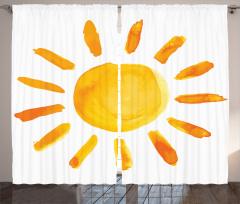 Sulu Boya Güneş Desenli Fon Perde Güneş Deseni Sarı