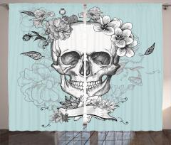 Kuru Kafa ve Çiçekler Fon Perde Kurukafa ve Çiçekler Temalı