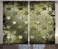 Çizgili Yıldız Desenli Fon Perde Kamuflaj Görünümlü