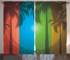 Tropikal Ada ve Palmiye Fon Perde Palmiye Ağacı Ombre