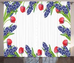 Lale ve Sümbül Desenli Fon Perde Kırmızı Laleler Sümbüller