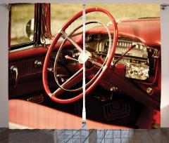Retro Araba Fon Perde Kırmızı Klasik Araba Retro