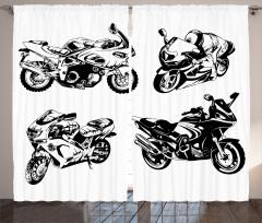 Motosiklet Severler İçin Fon Perde Siyah Beyaz