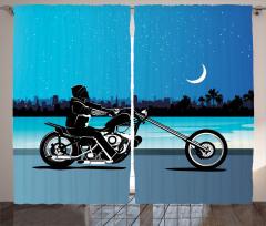 Motosiklet Desenli Fon Perde Mavi Siyah Yıldız Ay