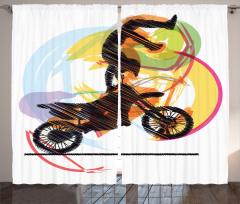 Motosiklet Sevenlere Özel Fon Perde Akrobat Sarı