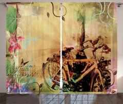Nostaljik Bisiklet Desenli Fon Perde Kahverengi