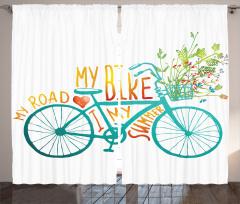 Bisiklet ve Çiçek Desenli Fon Perde Mavi Yeşil