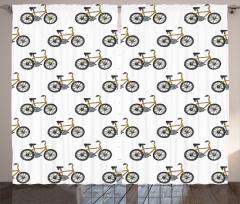 Bisiklet Desenli Fon Perde Siyah Sarı Şık Tasarım