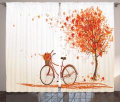 Bisiklet ve Ağaç Desenli Fon Perde Turuncu Yaprak