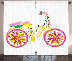 Pembe Bisiklet Desenli Fon Perde Çiçek Sarı Yeşil
