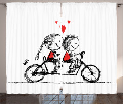 Bisikletli Aşıklar Temalı Fon Perde Siyah Kırmızı