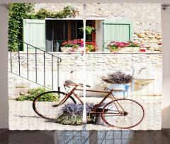 Çiçek ve Bisiklet Desenli Fon Perde Krem Pembe