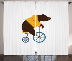 Bisikletli Ayı Desenli Fon Perde Kahverengi Mavi