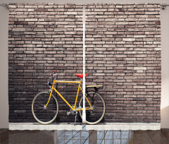 Retro Bisiklet Desenli Fon Perde Kahverengi Sarı
