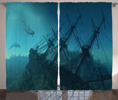 Batık Gemi Desenli Fon Perde Mavi Deniz Yunus