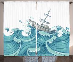 Dalgalar ve Gemi Desenli Fon Perde Mavi Deniz Şık