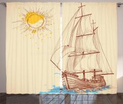 Yelkenli Desenli Fon Perde Deniz Bej Mavi Sarı