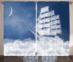 Bulut Yelkenli Temalı Fon Perde Beyaz Mavi Deniz