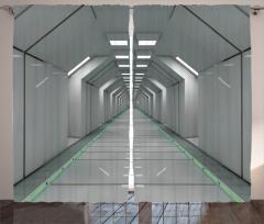 Uzay Temalı Fon Perde Bilim Kurgu Beyaz Koridor