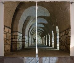 Kale Desenli Fon Perde Antik Temalı Kahverengi
