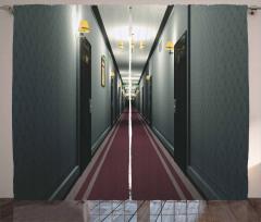 Otel Koridoru Temalı Fon Perde Gri Bordo 3D Bina