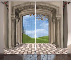 Gökyüzü Koridoru Temalı Fon Perde Bej Beyaz Bulut