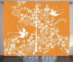Çiçek Desenli Fon Perde Turuncu Beyaz Kuş Çeyizlik