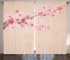 Kiraz Çiçekleri Desenli Fon Perde Pembe Çeyizlik