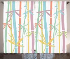 Rengarenk Bambu Desenli Fon Perde Şık Tasarım Ağaç