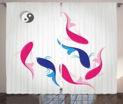 Balık Desenli Fon Perde Yin Yang Kırmızı Lacivert
