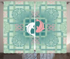 Balık Desenli Fon Perde Çiçek Pembe Yeşil Şık