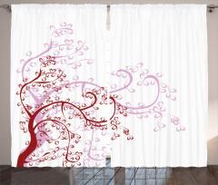 Çiçek Desenli Fon Perde Pembe Bordo Beyaz Çeyizlik