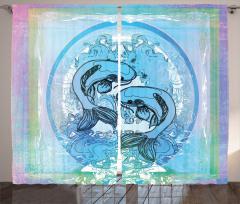 Mavi Balık Desenli Fon Perde Koi Mor Japon Şık