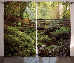 Saklı Cennet Temalı Fon Perde Ormanda Ahşap Köprü