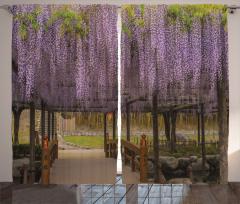 Japon Bahçesi Temalı Fon Perde Mor Bahar Çiçekleri