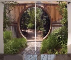 Otantik Kapı Fon Perde Japon Bahçesinde Gezinti