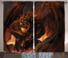 Ejderha Desenli Fon Perde Fantastik Mitolojik
