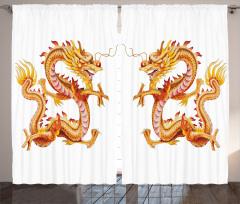 İkiz Ejderha Desenli Fon Perde Uzak Doğu Sarı