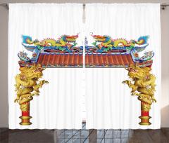 Ejderhalı Antik Kapı Fon Perde Oryantal Sanatı